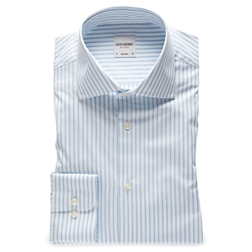 Bilde av John Henric Light Blue Striped Poplin Shirt