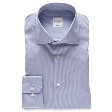 Bilde av John Henric Blue White Striped Poplin Shirt