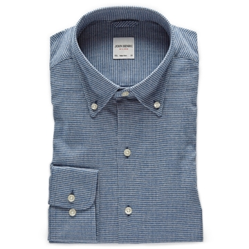 Bilde av John Henric Blue Houndstooth Cotton-Flannel Shirt